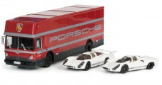 "Porsche Set ""Edition 70 Jahre Porsche"" Racing Transporter with Porsche 908 Short & Long Tail 1:43 Schuco 450372700"