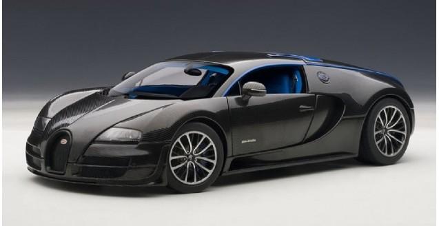Bugatti 16.4 Veyron Merveilleux Carbon Black/Blue Interior 1:18 AUTOart 70934