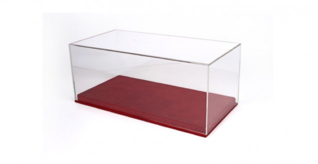 Red Velvet Alcantara Base & Clear Display Case for 1:18 Scale BBR VET1804A1