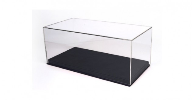 Black Leatherette Base & Clear Display Case for 1:18 Scale BBR VET1804B1