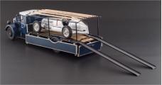 CMC Mercedes-Benz Racing Car Transporter LO 2750 Blue + W25 T-Car Silver Bundle 1:18 CMC M-164