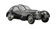 Bugatti Type 57 SC Atlantic 1938 Black 1:18 CMC M-085