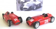 "CMC Lucky Set 2018 ""Collins"": CMC Ferrari D50 short nose GP France #14 Collins + CMC Ferrari D50 long nose GP Germany #2 Collins + CMC Ferrari D50 short nose GP Italy #26 Collins/Fangio + Showcase + Figurine 1:18 CMC M-202"