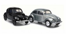 Volkswagen Split Window Beetle 2-Car Set 1938-1953 Black & Raw Metal 1:64 GREENLIGHT 29818