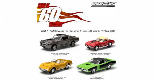 GREENLIGHT 59020A Gone in 60 Seconds Four Car Film Reel 1:64