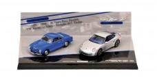 Porsche and VW 2 Car Set Model Car Set Blue Silver 1:43 Minichamps 402902010