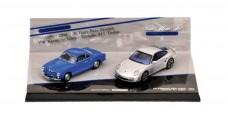 Porsche and VW 2 Car Set Model Car Set Blue Silver 1:43 Minichamps 402902010