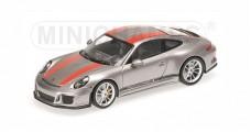 Porsche 911 (991) R year 2016 silver / red 1:43 Minichamps 410066222