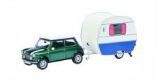 Mini Cooper Green & Knaus Caravan White 1:43 Schuco 450241500
