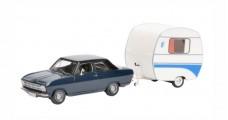 Opel Kadett B with Knaus Schwalbennest Dark Blue 1:43 Schuco 450294700